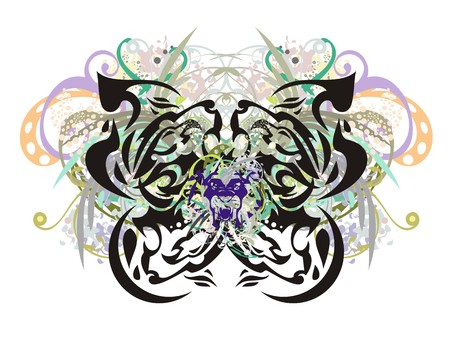 Ornate floral butterfly with lion-eagle head inside. Illustration