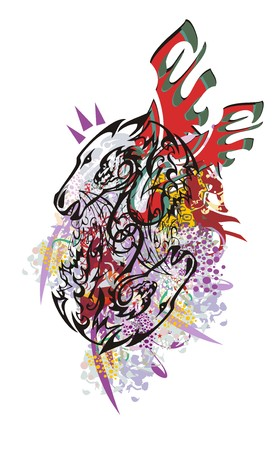 Grunge double horse head symbol with red wings. Colorful splashes tribal double mustang head with the twirled dragon head in the ready for t-shirt design, tattoos and other