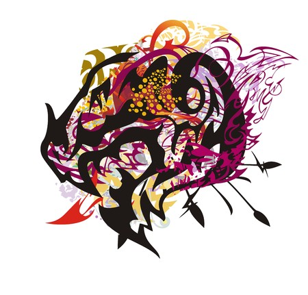 Grunge colorful dragon head splashes. Scary closeup dragon head with an open jaw with linear patterns and red arrows, colorful drops