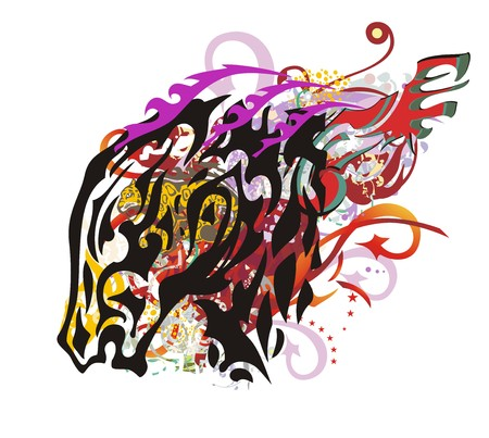 Grunge colorful horse head splashes. Young flaming head of a mustang with arrows, color drops, with an element of a jaguar ready for t-shirt design, tattoos and other Illustration