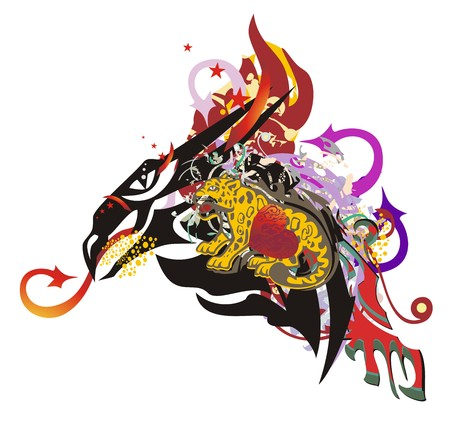 Flaming dragon head symbol in grunge style. Peaked dragon with arrows, with colorful elements, an element of a jaguar and red heart Illustration