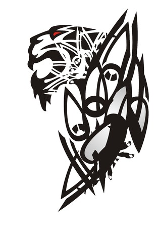 Tribal tiger head pattern. Tattoo of the growling tiger with peaked elements