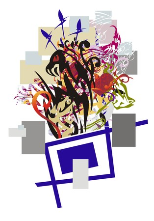Grunge eagle abstraction. Unusual stylized eagle head with the red hearts and arrows twirled by decorative elements against the background of colorful rectangles