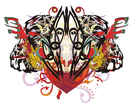 Grunge tiger heart. Abstract majestic flaming heart created by the aggressive tigers heads with elements of a jaguar, red wings and arrows, linear patterns and colorful splashes Illustration