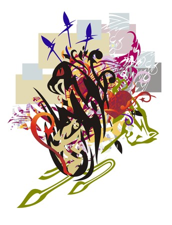 Colorful eagle abstraction. Grunge stylized eagle head with the red hearts and arrows twirled by decorative elements against the background of colorful rectangles Illustration