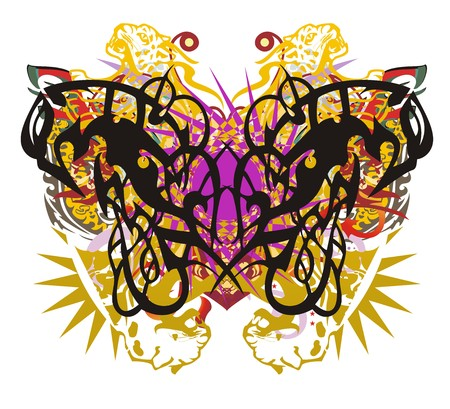 Colorful ornate butterfly splashes. Tribal abstract tropical butterfly formed by linear eagle forms against the background of jaguar elements, a star and the twirled decorative elements
