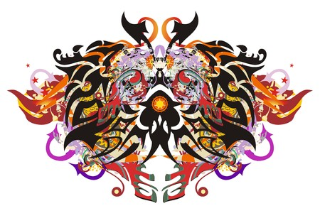 Splattered detailed butterfly. Abstract flaming tropical butterfly with arrows, elements of a jaguar and colorful splashes