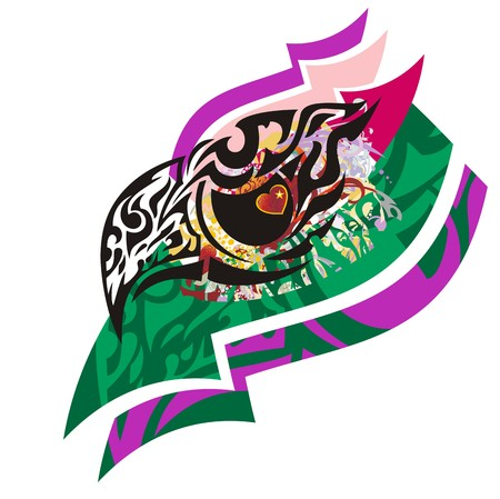Grunge eagle head with color arrows. Closeup of a decorative eagle head against the background of color elements and arrows with an eye in the form of heart