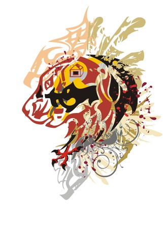 Grunge dog head with blood drops. Tribal abstract dog head with eagle claws, decorative elements and color feathers Illustration
