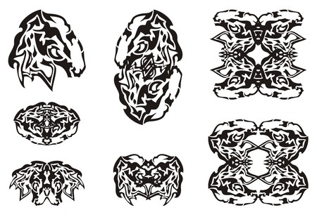 Tribal abstract mustang head symbols. Set of the double horse symbols for t-shirt design, tattoos, vinyl cutting and other Illustration