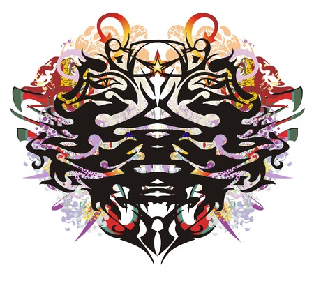 Grunge double eagle head symbol. Two-headed freakish eagle against the background of linear patterns, arrows and colorful ornate elements Ilustrace