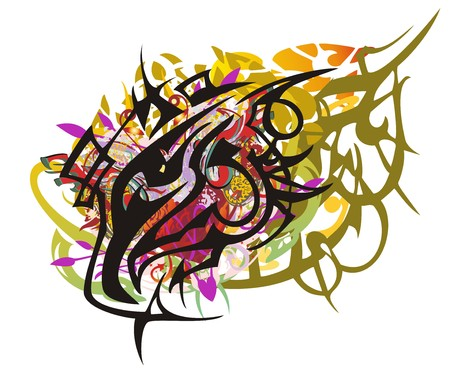 Grunge colorful eagle head splashes. Tribal peaked eagle head with red heart, the coiling elements, color splashes on a white background.