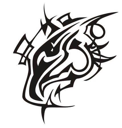 Tribal eagle head linear pattern. Stylized of a peaked black eagle symbol on a white background.  イラスト・ベクター素材