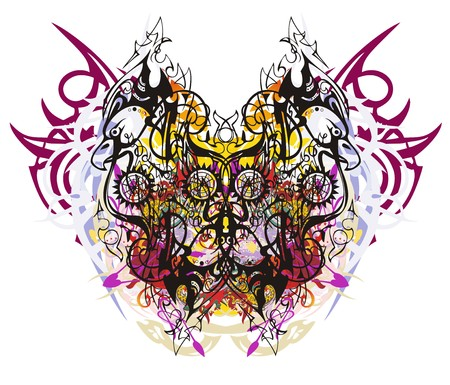 Grunge linear eagle butterfly. Tribal abstract fantasy butterfly created from eagle linear patterns with color splashes and peaked elements Illustration