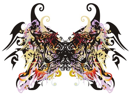 Awful butterfly wings. Abstract terrible splattered butterfly wings formed by elements of the cats heads with color splashes, arrows and other decorative elements