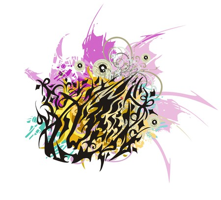 Aggressive lion head colorful splashes. Tribal lion head formed by the horse head with color floral splashes and dragon wings
