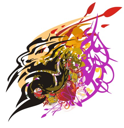 Lion head symbol colorful splashes. Grunge aggressive lion head against the background of color decorative elements, arrows and red heart, prevailing tone orange and violet Illustration