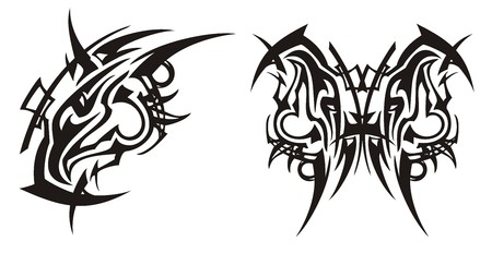 Tribal peaked eagle head symbol and butterfly from it. Stylization of an abstract black eagle symbol and the butterfly created on the basis of him on a white background Illustration