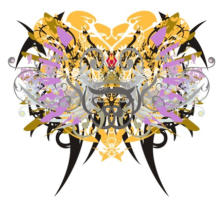 Grunge butterfly wings with floral and eagle elements. Abstract fantastic butterfly with colorful twirled floral elements.