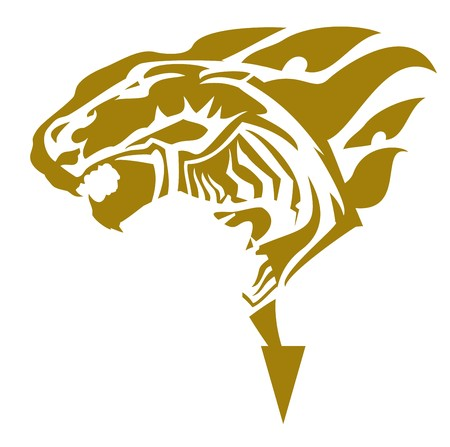 Golden lion symbol with a horse head inside. Fantastic roaring lion head inspiring fear on a white background for your design. Ilustração