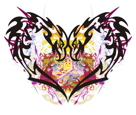 Unusual eagle heart colorful splashes. Grunge magic fantastic heart formed by peaked eagles against the background of color Illustration