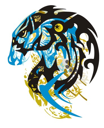 Grunge unusual fish symbol against a blue horse head. Tribal aggressive dangerous stylized fish against the background of the twirled decorative elements.