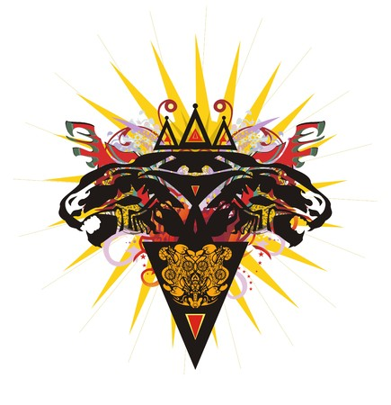 Two headed lion symbol with a crown. Grunge growling lion heads topped with a crown against the background of an orange star, like the sun, with elements of red wings, linear patterns and the triangle