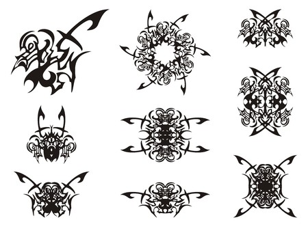 Abstract decorative tribal bird symbols. Unusual symbol of a bird and double symbols, like butterflies and floral elements, formed from it. Black on white