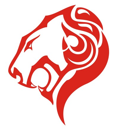 Lion head fire icon concept. Tribal flaming head of a lion formed by tongues of flame for your design. Red on white