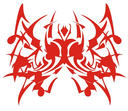 Abstract peaked red butterfly tattoo. Gothic flaming butterfly wings for a tattoo, an embroidery, decals, vinyl cutting and another.
