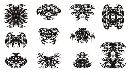 Double decorative unusual tribal elements. Stylized fantastic ethnic double abstract symbols of butterflies and bugs formed by the head of an eagle. Black on white Illustration