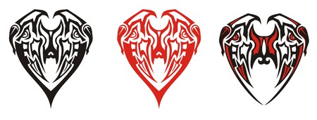 Tribal eagle heads in the heart form. Abstract stylized double eagle symbol in the form of heart - three options on a white background