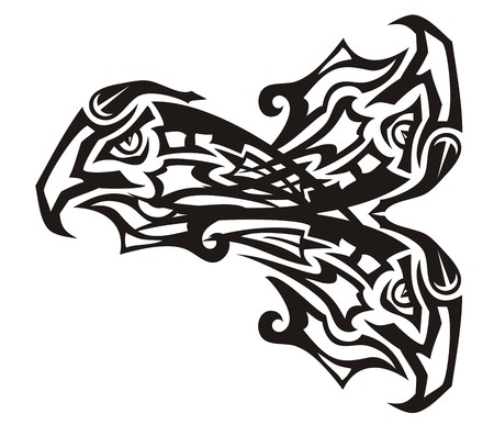 Three eagle heads in the fish form. Tribal unusual fantastic symbol of the three-headed eagle forming fish. Black on white Illustration