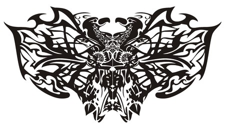 Stylized fantastic tribal butterfly wings. Creative ethnic butterfly formed by the eagle heads and linear patterns on a white background. Coloring page for adults Illustration