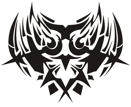 Tribal owl symbol with arrows. Closeup fantastic abstract peaked owl silhouette fire concept with arrows in black color on a white background for your design Illustration