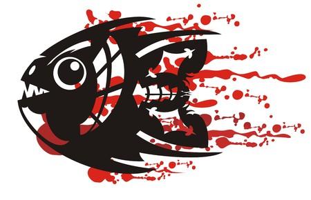 Tribal aggressive fish symbol with bloody splashes illustration.