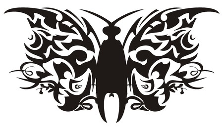 Ethnic butterfly formed from parrot heads elements. Unusual tribal black butterfly for an embroidery, an engraving, art of a tattoo and another on a white background Illustration