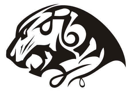 Growling tiger head linear icon. Angry laconic tiger head symbol with an open jaw. Black and white