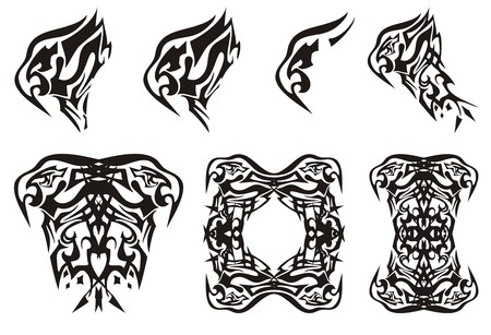 Abstract tribal eagle head set. Peaked flaming eagle symbols and eagle frame on a white background for your design