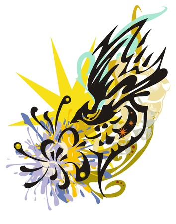 Grunge abstract fantasy flying bird splashes with a flower. Tribal bird with a flower against the background of a yellow star with floral elements for your design