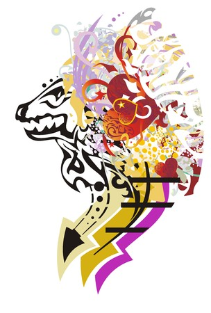 Freakish dragon head with red hearts. Grunge abstract head of a young dragon with arrows and colorful splashes on a white background