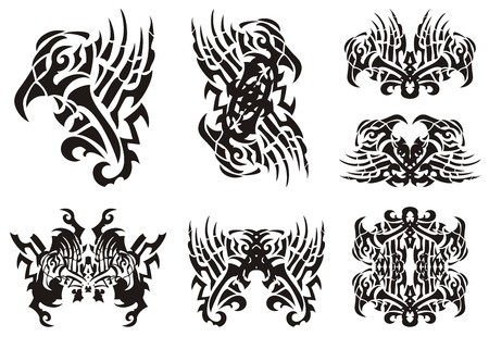 Tribal unusual black and white eagle symbols. Abstract peaked eagle symbol with an open wing and the butterflies formed from him, a frame and double symbols