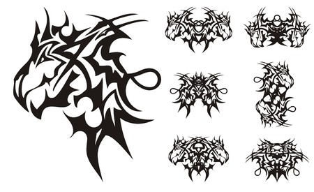 Agressive peaked dragon symbols in tribal style. Flaming terrible dragon head, the butterflies are formed from it, double symbols for your design, a tattoo, an embroidery, etc. 向量圖像
