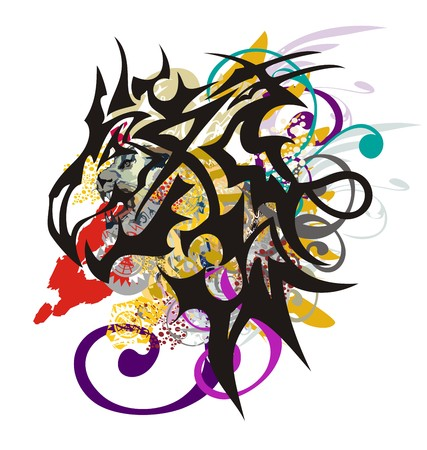 Aggressive dragon head with colorful splashes. Awful splattered scary dragon head with lioness head inside, linear patterns and floral elements