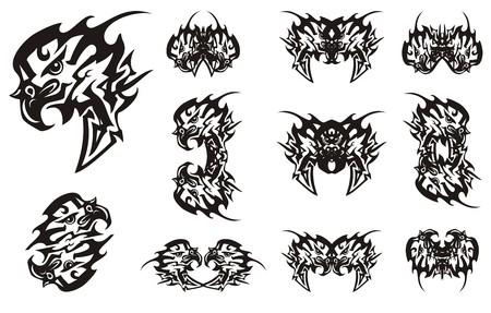 Simboli dell'aquila tribale con visiera nelle opzioni in bianco e nero. Simbolo astratto della testa dell'aquila fiammeggiante con una freccia, i doppi simboli e le farfalle create da lui Vettoriali