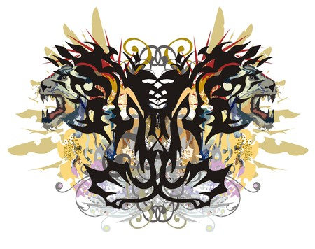 Splattered butterfly with the aggressive heads of a lioness. Grunge abstract unusual butterfly wings with colorful decorative floral elements, gold eagle feathers and color drops