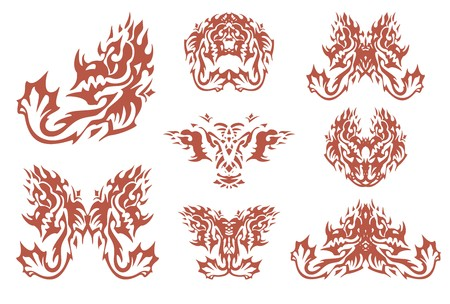 Fiery tribal horned dragon symbols. Aggressive dragon in the fire form, the dragon heads and the flaming butterflies created from him for your design