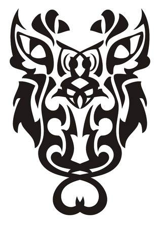 Awful tribal unusual owl symbol. Fantastic owl in black and white tones in tribal style for a tattoo art, etc. 向量圖像