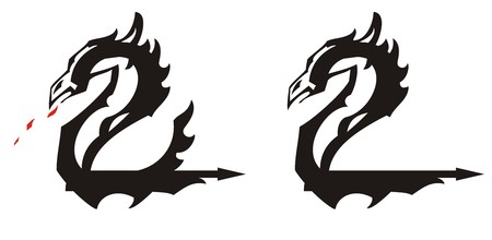 Ethnic dragon symbol in the form of number two. Icons of dragons in the form of the two with elements of a wing and an arrow for your creative design