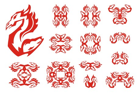 Dragon and horse double flaming abstract symbols. Aggressive unusual symbol created by the head of a dragon and the horse head. Tribal flaming symbols set in red and white tones for your design Иллюстрация